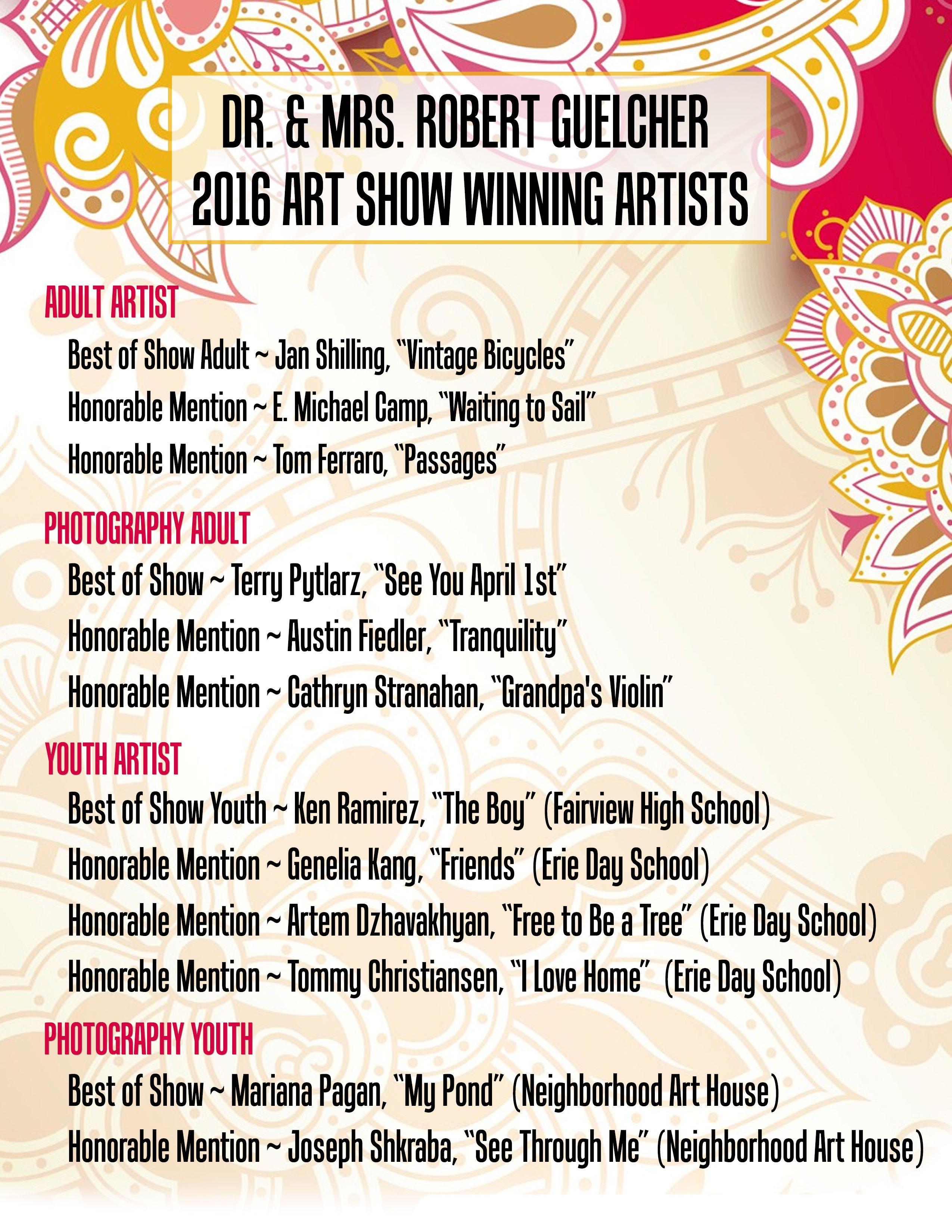 2016 Art show winners