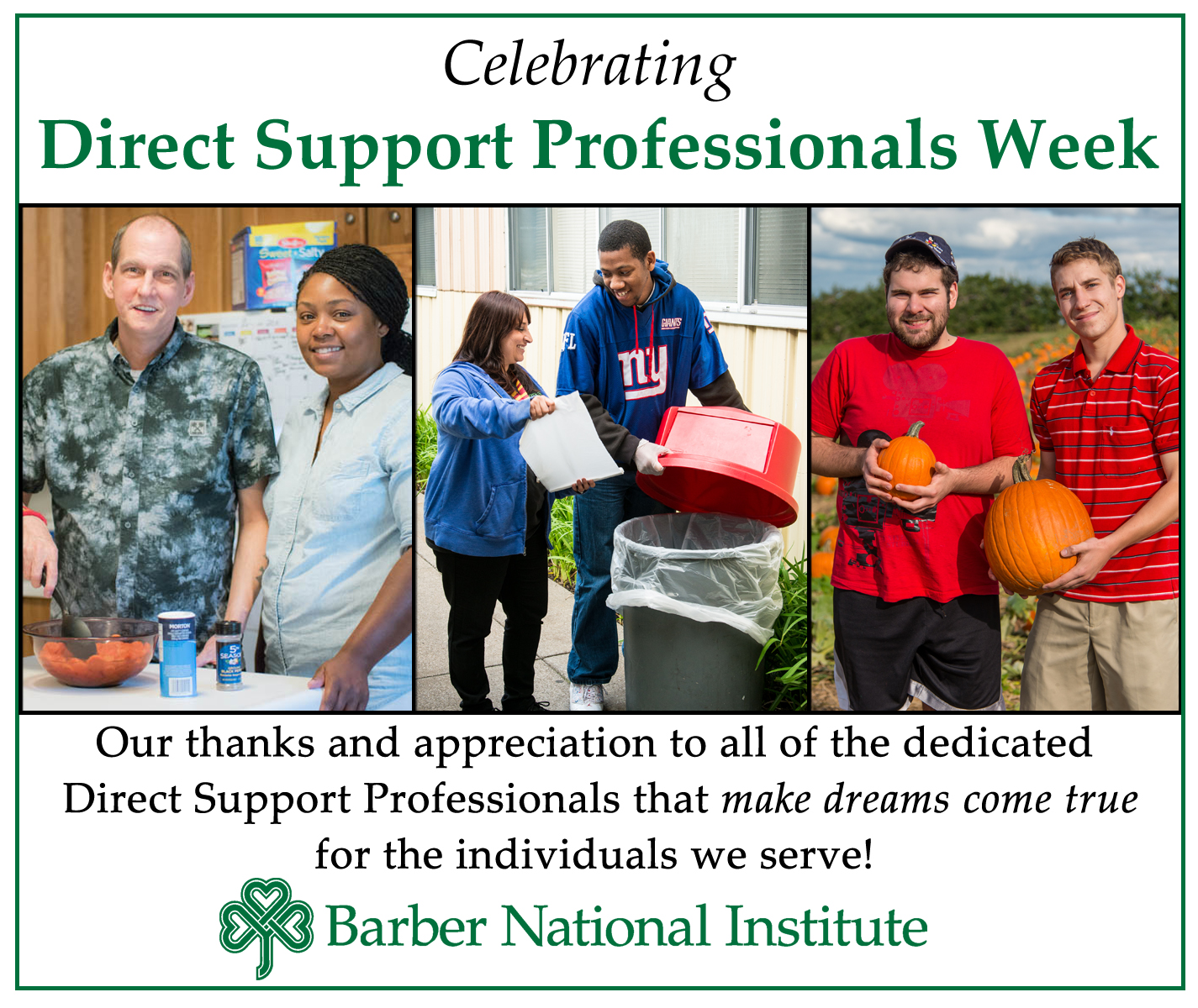 Barber Institute Erie : Direct Support Professional Week - Barber National Institute
