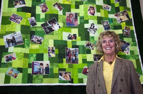 """Field of Dreams,"" a quilt designed and pieced by Jan Brabender to commemorate the 100th birthday of Dr. Gertrude A. Barber, was permanently installed at the Barber National Institute."