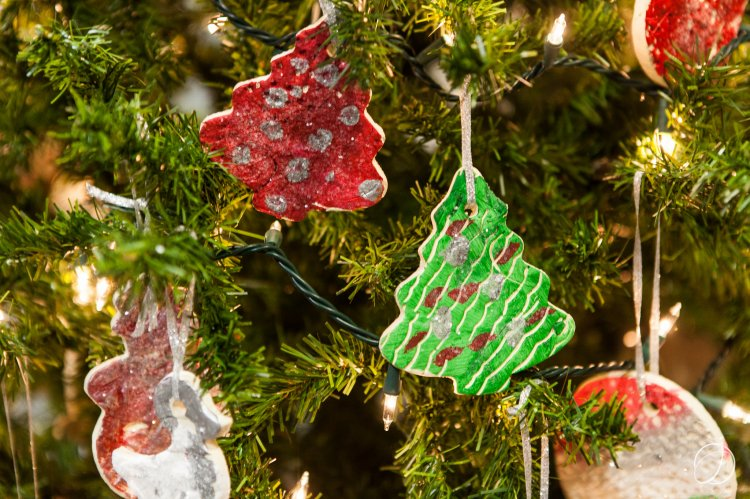 Ornaments created by student in the Elizabeth Lee Black School with assistance from the Hunter family adorned several trees in the lobby.  The ornaments were fired by Erie potter Lisa Salvia, who also secured a donation of clay from Standard Ceramics in Pittsburgh.