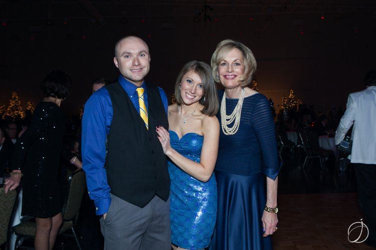 Ryan Flynn & Ali Phillips, who became engaged the night of the Ball, are congratulated by Dr. Maureen Barber-Carey