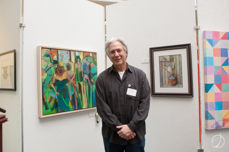 "Artist Tom Ferraro with ""Red Dress,"" an oil on canvas that received the Professional Artist Best of Show Award"