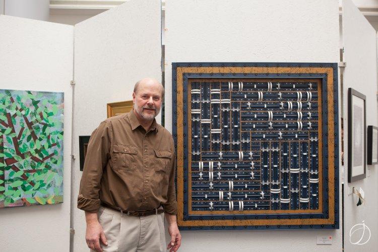 "Artist Frank Fecko with ""Spiral Module #3"""