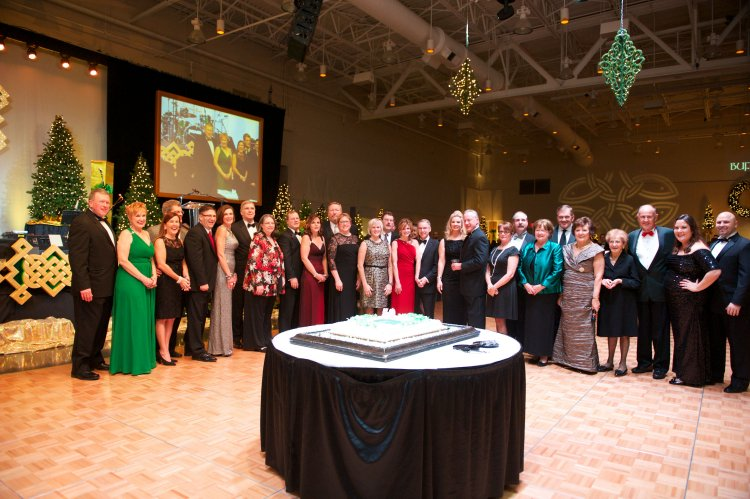 Chair couples from past years gather to celebrate the Ball's 50th anniversary.