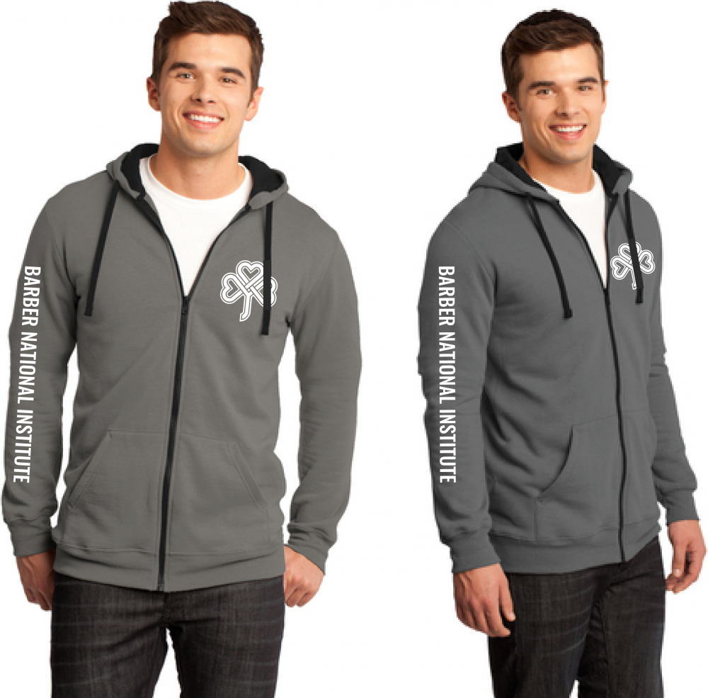 Barber National Institute Light Grey Full-Zip Hoodie