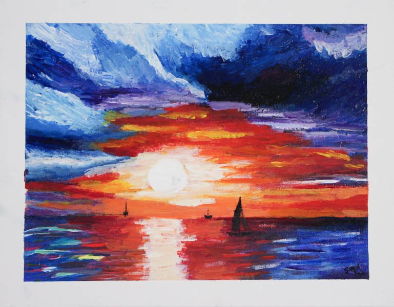 """129 """"After Leonid Aftremov, Sunset Boat"""" by Savanna Huynh"""