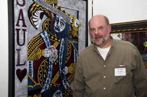 "Frank Fecko and his artwork, """"Torments of Saul."""